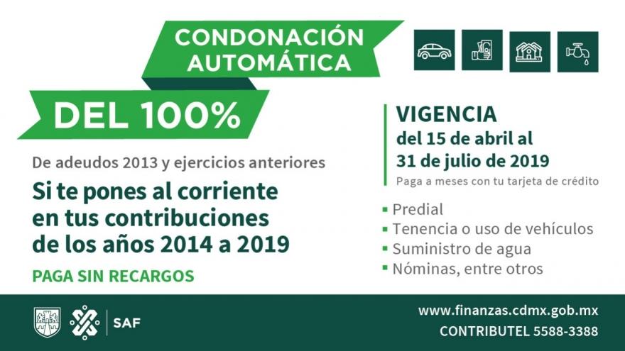 Condonación automática del 100%